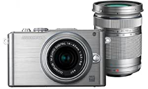 Olympus PEN E-PL3 Twin Lens Kit 12.3MP Mirrorless System Camera (Black) with SD Card and PEN Camera Bag