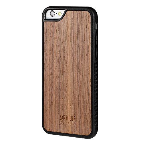 ZARTHOLZ passend für iPhone 6 6s Holzhülle Holz Case Cover Backcover Schale Bumper Tasche Gravur Rückseite Walnuss Schwarz Braun Dünn Design