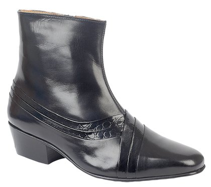 Mens Cuban Heel side zip Boots Black Reptile leather 40 (Stiefel Heel Herren Cuban)
