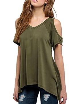 Rcool Mujeres Casual Suelto V-cuello de la Camiseta de Hombro Manga Corta Camiseta Sólida de Estiramiento Tops...