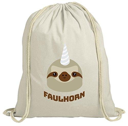 Einhorn Faultier natur Turnbeutel mit Faulhorn Motiv von ShirtStreet Natur