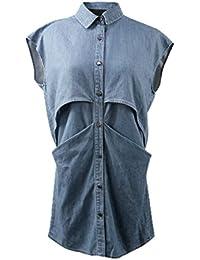 JNTworld Frauen Lässig Ausgestelltes Langes ärmelloses Top Denim Hemd Kleid