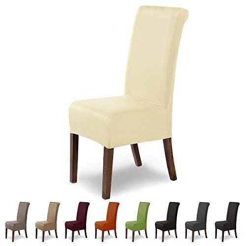 SCHEFFLER-Home Marie 2er Set Stuhlhussen Stretch, Stuhlabdeckung elastisch, Husse Spannbezug mit Fleckschutz, Creme