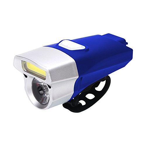 LEvifun Fahrradlicht LED+COB USB Wiederaufladbare Scheinwerfer Fahrrad Rücklicht Fahrradbeleuchtung Fahrradlenker Fahrradlampe Radfahren Superhelle Sport Camping Warnlicht Wasserdicht fuer Kinder- , Herren- und Damen Raeder F1 (Blau)