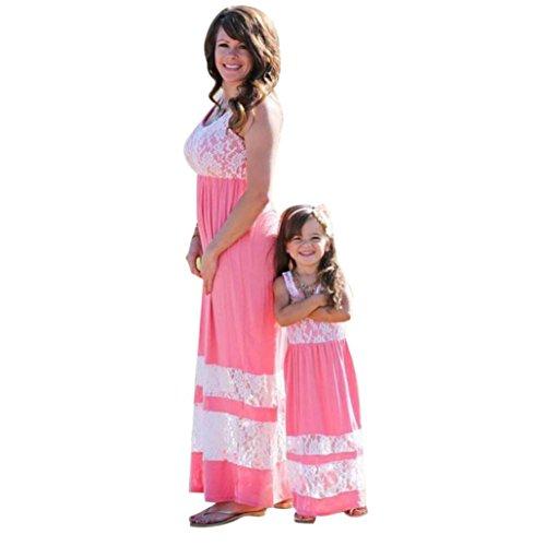 Goodsatar Mutter Tochter Ärmellose Gedruckte Stitching Spitze Kleid Beiläufige Familie Kleidung Mädchen Kleid (38-40, Mutter)