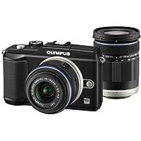 Olympus E-PL2 Systemkamera (12 Megapixel, 7,6 cm (3 Zoll) Display, bildstabilisiert) schwarz mit 14-42 mm & 40-150 mm Objektiven schwarz