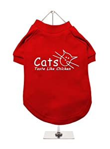 Cats Taste Like Chicken Urbanpup Dog T-shirt Red White Large - Body Length 14 35cm from UrbanPup