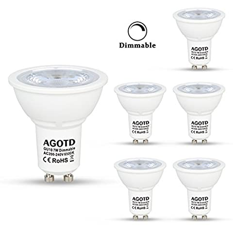 AGOTD GU10 LED Bulbs Light Dimmable 7W 230V AC, 50W