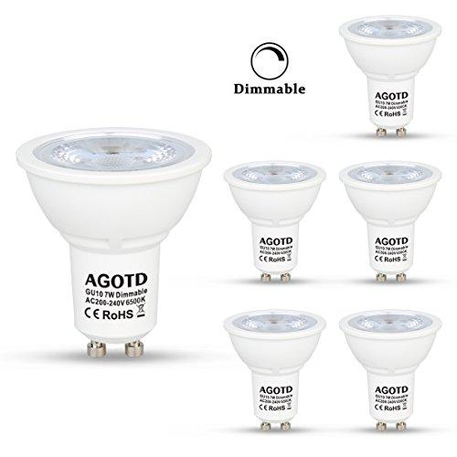 AGOTD Ampoule GU10 LED 7W 230V, Full Dimmable, Haute Compatibilité, No Flicker, No Noise, Lampe Longue Durée,Equivalent Ampoule Halogene 50W, 560lm, Blanc Froid, 6500K, 200v-240 Vac, Culot GU10, Lot de 6 units