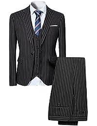 Costume homme formel rayure un bouton à la mode slim fit trois pièces