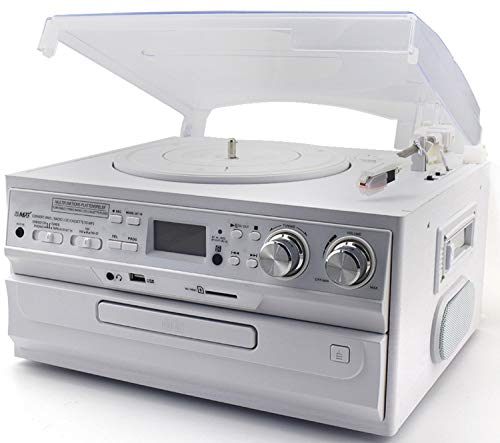 Retro Musikanlage | Nostalgie Design Stereoanlage | Kompaktanlage | Musik Center | Aufnahmefunktion | Plattenspieler | CD/MP3 | USB/SD | Radio FM/AM | LCD-Display | Kassettenspieler | Weiß - Plattenspieler Radio Cd Mp3