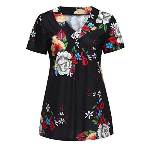 LEXUPE Damen Print V-Ausschnitt Kurzarm Lose Casual Top T-Shirt Schwarz Mode Frauen Plissee Kurzarm V-Ausschnitt LäSsige Bluse Top Tunika Shirt