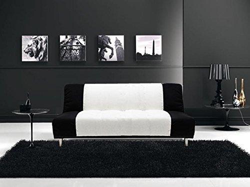 CG Sofa Bett Mikrofaser weiß und schwarz 3Sitzer -