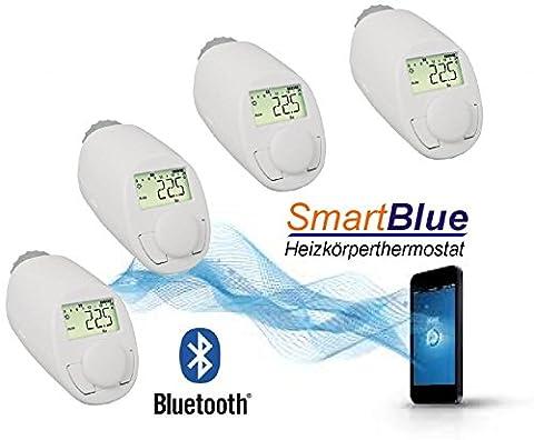 SmartBlue Heizköperthermostat Bluetooth 4-er Set, Programmierung über Smartphone oder Tablet