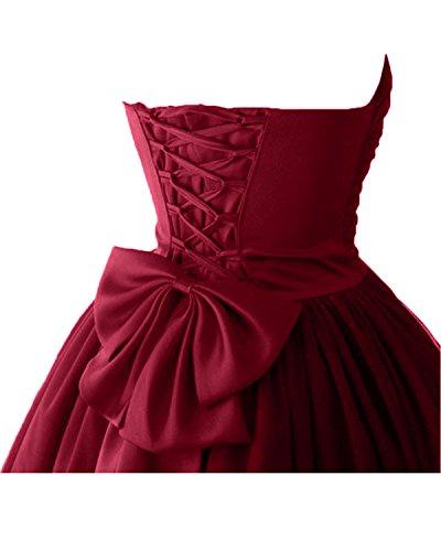 Victory bridal à coeur abendkleider court tuell promkleider ballkleider brautjungfernkleider en satin rouge bordeaux
