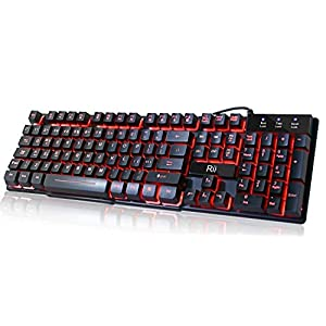 Rii RK100 Multimedia-Tastatur, 3 Farben, mit Hintergrundbeleuchtung, mechanisches Gefühl, USB, kabelgebunden, für Arbeiten oder Spielen, Bürogeräte