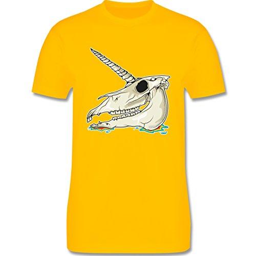 Shirtracer Piraten & Totenkopf - Einhorn Totenkopf - Herren T-Shirt Rundhals Gelb