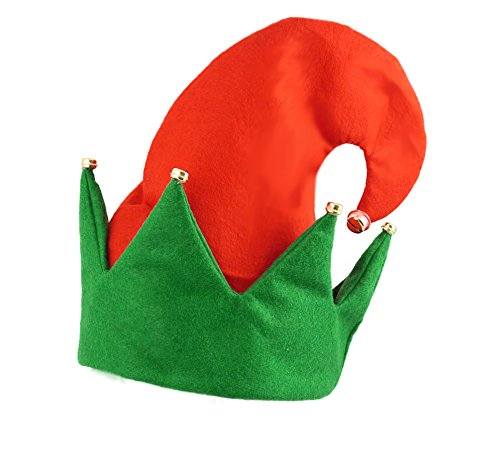 Red & Green Elf Hat with Bells Adult Christmas Fancy Dress Accessory