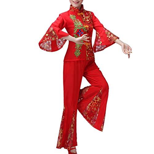 Yudesun Damen Tanzsport Bekleidung - Chinesischer Nationaltanz Kostüm Erwachsener Taille Drum Dance Square Dance Performance Elegant Slim Fit