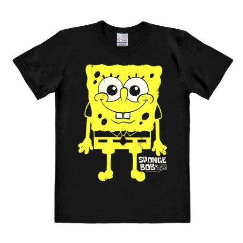 Patrick Kostüm Spongebob (T-Shirt Schwammkopf - I'm Ready - Spongebob - Rundhals T-Shirt von Logoshirt - schwarz - Lizenziertes Originaldesign, Größe)