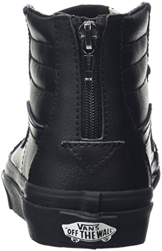 Vans Sk8-Hi Zip, Sneakers Hautes Mixte Enfant Noir (Leather Black/Black)