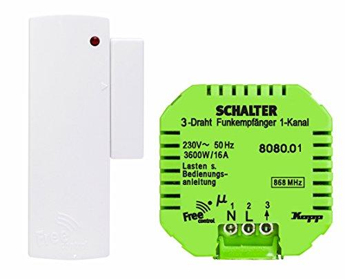 Kopp Dunstabzugshauben-Set Neue Generation Empfänger 3-Draht und Free-Control Funk-Magnetsensor, 827102024, weiß