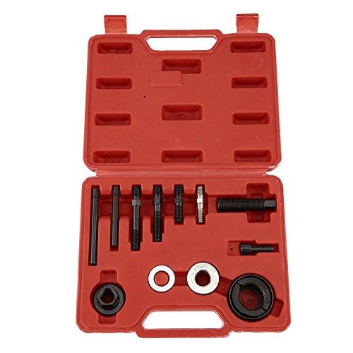 HermosaUKnight 13pcs Kfz-Riemenscheiben-Abziehwerkzeug-Entferner und Installer-Tool-Kit Servopumpen-Entferner-Wechselstromgenerator Wechselstrom-Riemenscheibe, die das Werkzeug-Schwarz, Silber -