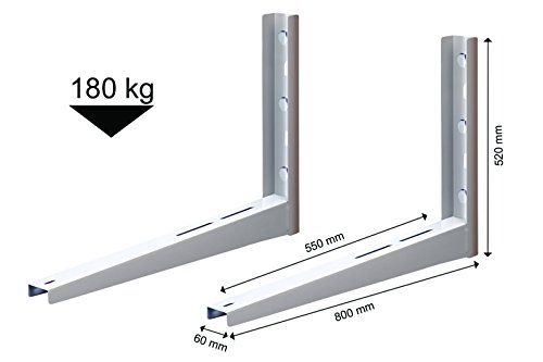 Michl Wandkonsole Halterung Wärmepumpe, Klimagerät, Klimaanlage 180 kg MTMS404 Weiß