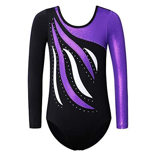 ZNYUNE Mädchen Kinder Turnanzug Gymnastikanzug Ballettanzug Trikot Leotard Gymnastikbody Turnbody 3-12 Jahre (BlackPurple, 9-10 Jahre/ 10A)