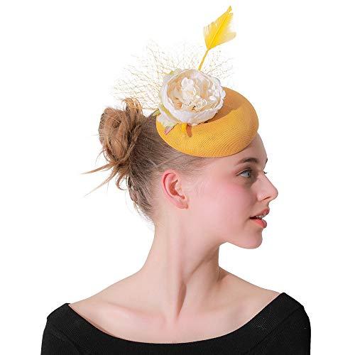 Kostüm Edel Moulin Rouge - Kuingbhn Fascinator-Hut Frauen Fascinators Haar Haarschmuck Haarnadel Hut Feder Cocktail Hochzeit Tea Party Hut Und Für Frauen Ballzubehör (Color : Yellow, Size : Free Size)
