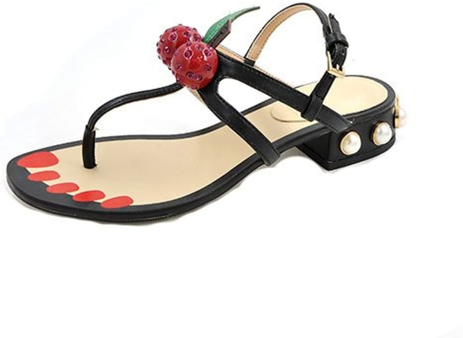 Sandals Cherry summer girl clips and that trip the buckle low rough with cherry, trip that with single shoes, Black,34 b1e2ee