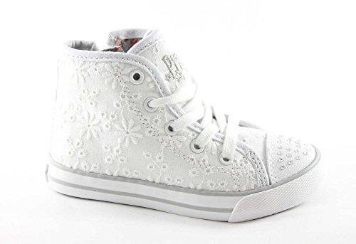 PRIMIGI 52870 bianco fiori scarpe bambina sneaker mid zip laterale 29