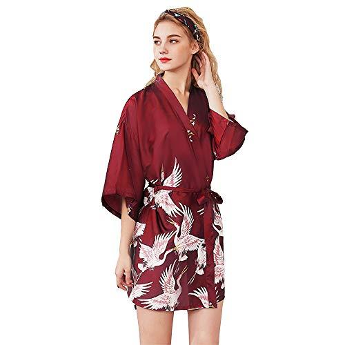 Bata de Satén Vestido Kimono Largo Mujer Camisón Pijamas Ropa de Dormir Albornoz Saten