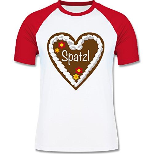 Oktoberfest Herren - Lebkuchenherz Spatzl - zweifarbiges Baseballshirt für Männer Weiß/Rot