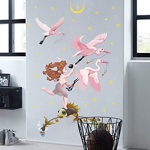 YzybzSterne Und Der Mond Wandaufkleber Engel Mädchen Fisch Und Vogel Liebe Schlafzimmer Home Decoration Selbstklebend