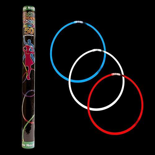 MODEOR 22-Zoll-Glow-Stick-Ketten - Rot, Weiß, Blau - 50 ct (Glow-sticks Bulk Kaufen)