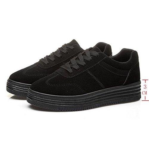 Femme Plateforme Chaussures à Lacets Pompes Creepers Baskets Talon 3CM Blanc Noir Gris Noir