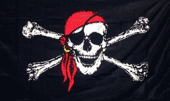 DRAPEAU PIRATE AVEC TIBIAS ET BANDANA ROUGE A PASSANT 90 X 150 CM D-PIRATE-132 AIRSOFT BLACK FLAG DECORATION JOLLY ROGER JACK RACKHAM