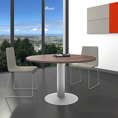 WeberBÜRO Optima runder Besprechungstisch Ø 120 cm Nussbaum Silbernes Gestell Tisch Esstisch