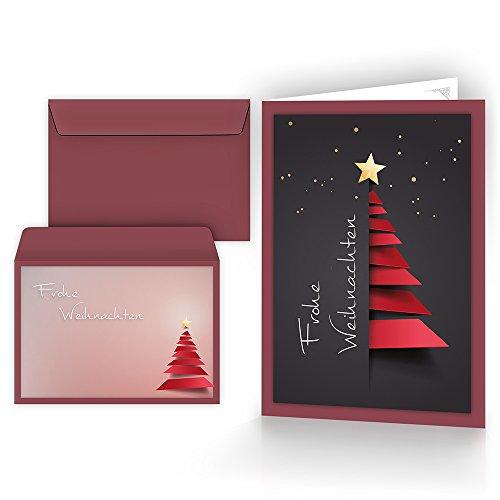 Weihnachtskarten mit Umschlägen (15er Set) - Klappkarten mit Weihnachtsbaum-Motiv für die schönsten Weihnachtsgrüße - Frohe Weihnachten