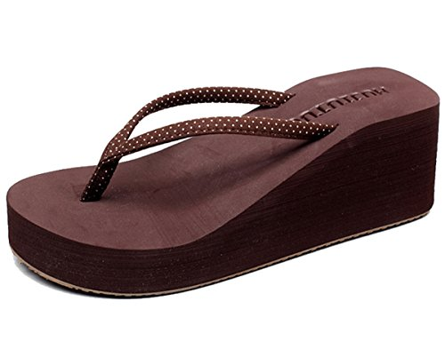 Cheerlife Damen Sommerschuhe Flip Flops Keilabsatz Zehentrenner Pantoffeln Sandalen Strandschuhe 39 Braun