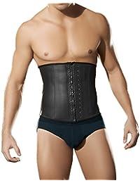 FeelinGirl - Corsé para hombre de látex para vientre plano, 100% de cuatro ballenas, acero con tres ganchos, color negro