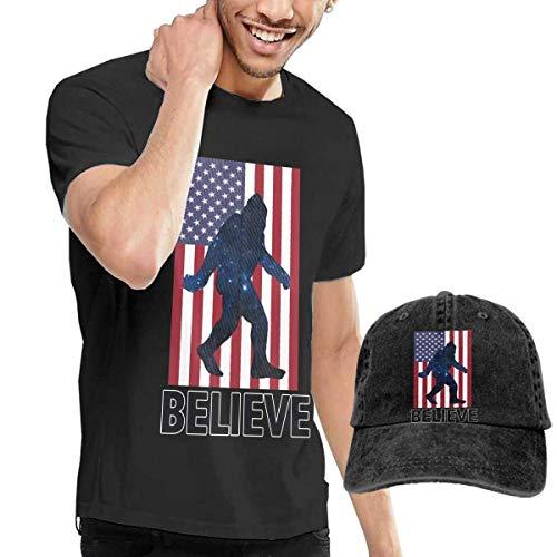 Kalinanai T-Shirts, T-Stücke, I Believe Sasquatch Men's Cotton T-Shirt mit rundem Kragen und Verstellbarer Baseballkappe - K-spiele Pre