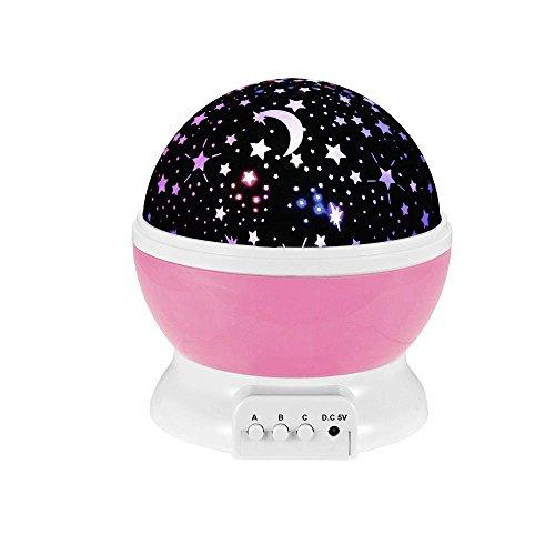 Ecandy 360 grados de rotación 3 Modo de luz del proyector de la estrella romántica Cosmos Luna del cielo de la lámpara de proyección de luz nocturna dormitorio para niños, bebés, regalos de la Navidad, los amantes del USB / Powered.d batería (Durazno en polvo)