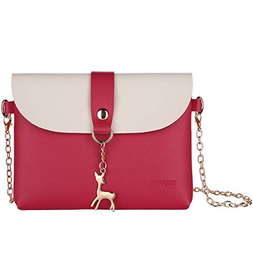 Lanling Kleine Crossbody Geldbörse für Frauen,Leder Umhängetasche Hirsch Crossbody Frauen Handtasche kleine Geldbörse Telefon Tasche für Mädchen (Rose Rot-Gold Chain) (Die Rote Rose Mädchen)