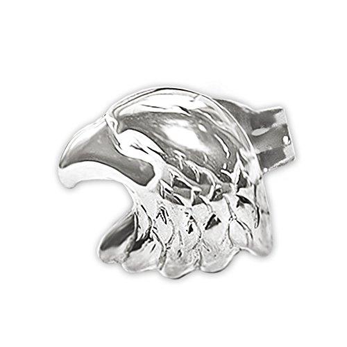 Clever Schmuck Silberner einzelner Herren Ohrring als Single Ohrstecker Adler als Adlerkopf 8 x 6 mm glänzend STERLING SILBER 925 rhodiniert 1 Stück