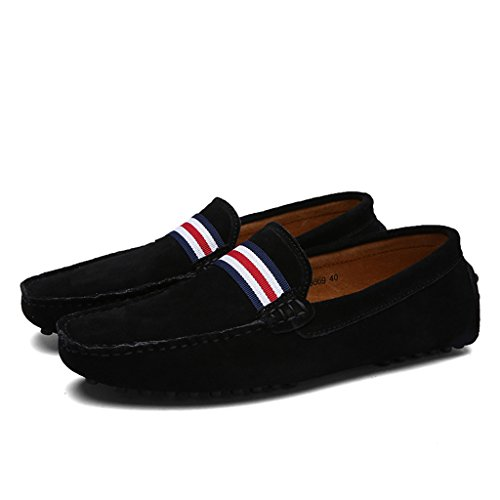 Eagsouni® Mocassins en daim Hommes Penny Loafers Casual Bateau Chaussures de Ville Flats Noir