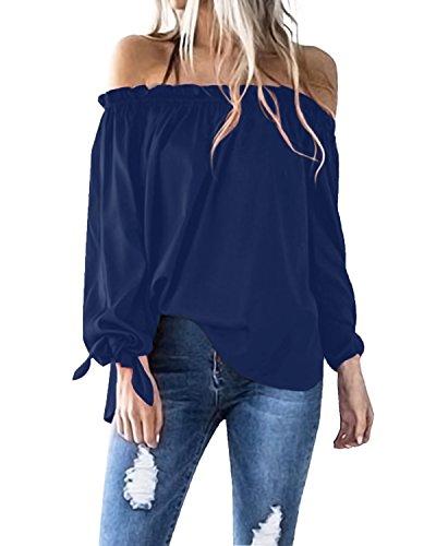 ACHIOOWA Damen Shirt Langarm Aus der Schulter Casual Oversize Tops Party Oberteil Trägerlos Strench Locker Tunika Blau L (Schulter-langarm-bluse)