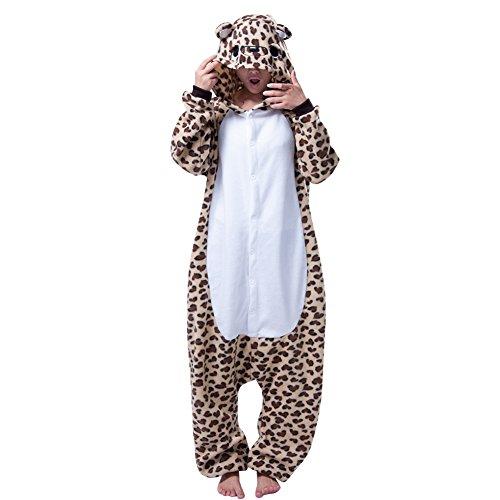 Erwachsene Schlafanzug Leoparden-Bär-Muster Cosplay Onesie Karneval Nachtwäsche Leopardbär (Kostüm Leopard Herren)