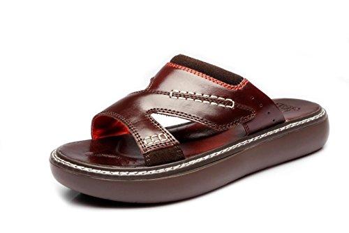 Mens Thick Soles Slipper echtes Leder Sandalen für Sommer Mode und bequem zu tragen 11915 brown